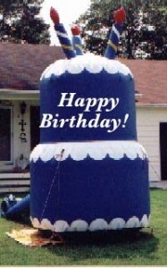 Blue Birthday Cake Advertising Balloon